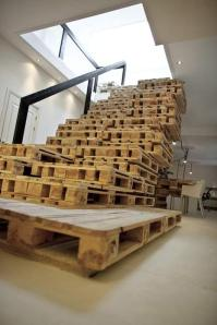 A staircase made of pallets